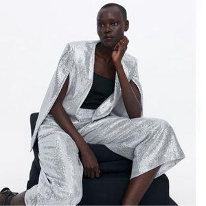 NWT Zara silver sequin cape & culottes co ord set